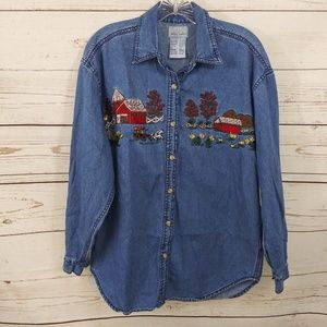 Paul Harris Top Denim Blue Country Embroidery A25